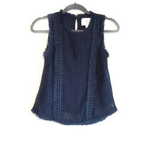 J.O.A. Dark Navy Crocheted Fringe Sleeveless Top